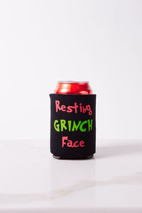 Resting Grinch Face (single sided) Black Beer Koozie