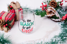 Load image into Gallery viewer, MonkeyFly Memories 'Tis the Season to get Tipsy Stemless Wineglass