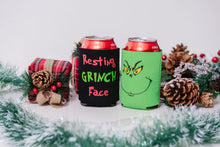Load image into Gallery viewer, Resting Grinch Face (single sided) Black Beer Koozie