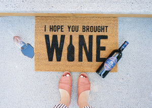 MonkeyFly Memories I Hope you Brought Wine Doormat