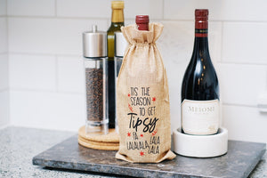 Tis the Seasons to Get Tipsy Reusable Wine Bottle Bag