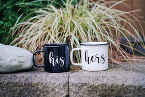 His/Hers - 16oz Enamel Camping Mug