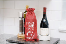 Load image into Gallery viewer, Ho Ho Ho Pour the Merlot Reusable Wine Bottle Bag