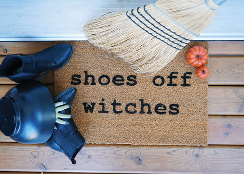 MonkeyFly Memories Shoes Off Witches Doormat