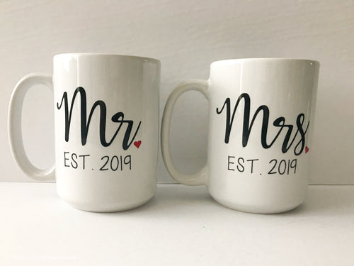 15 oz Mrs./Mr. coffee mug set