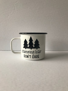 Camping Hair Don't Care 16oz Enamel Camping Mug