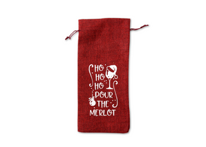 Ho Ho Ho Pour the Merlot Reusable Wine Bottle Bag