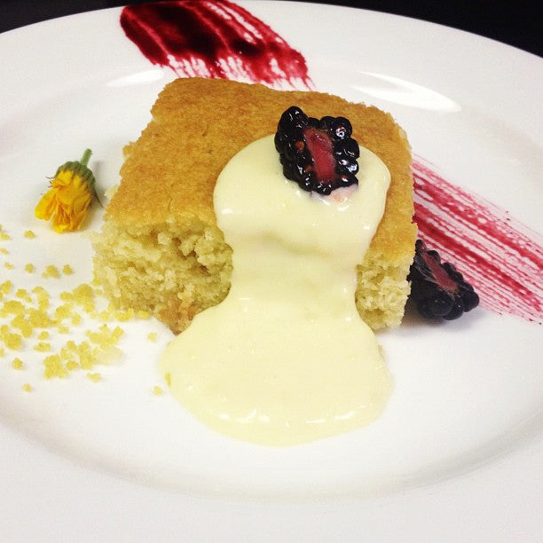 Smoked Olive Oil Cake & Meyer Lemon Custard