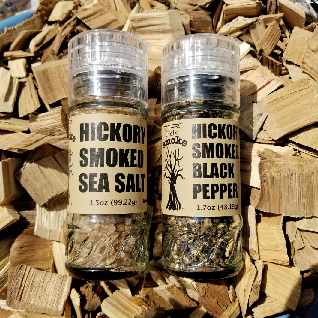 Smoked Sea Salt and Pepper lying on hickory chips