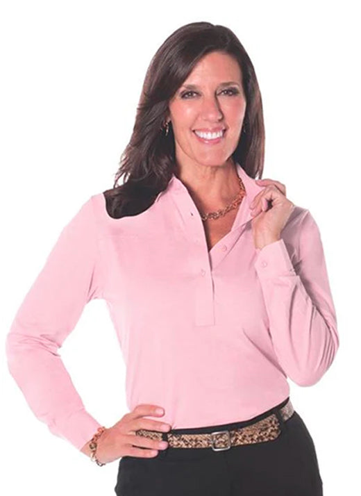 Petite Long Sleeve Solid Polos