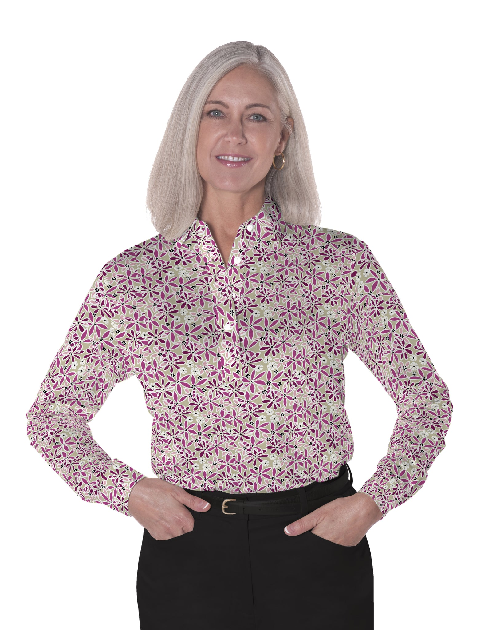 Ladies Long Sleeve Print Polo Shirt | Serenade 03M