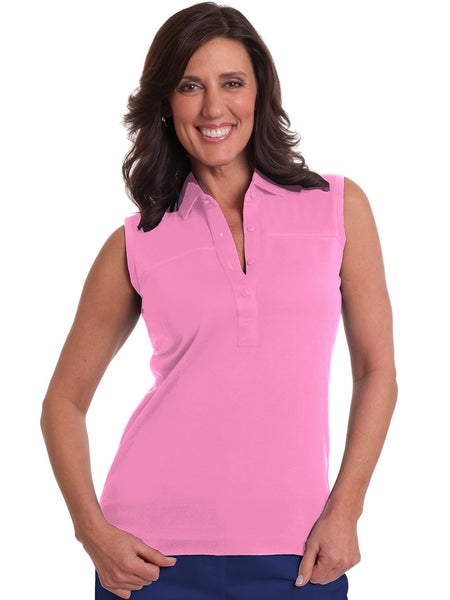 Sleeveless Solid Polo | Bermuda Pink 264 - Leonlevin
