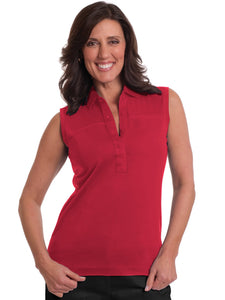 Sleeveless Solid Polo</br>Red 040 - Leonlevin