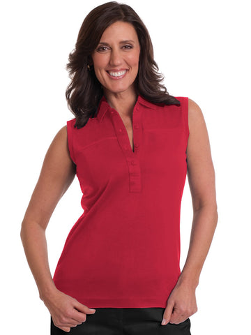 Sleeveless Solid Polo</br>Red 040
