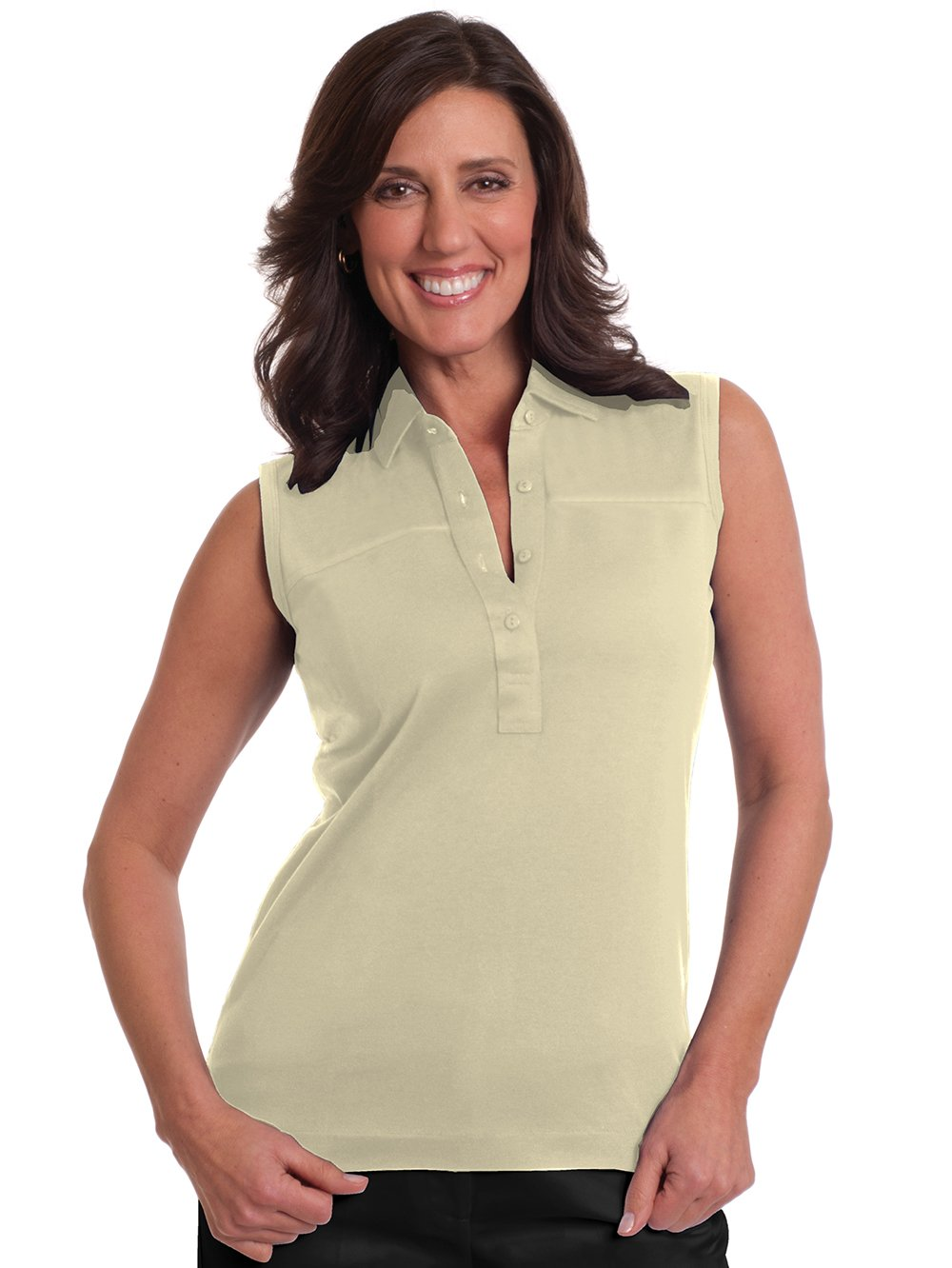 Sleeveless Solid Polo</br>Sand S50 - Leonlevin