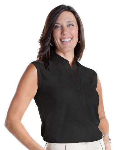 Sleeveless Solid Polo</br>Black 090 - Leonlevin