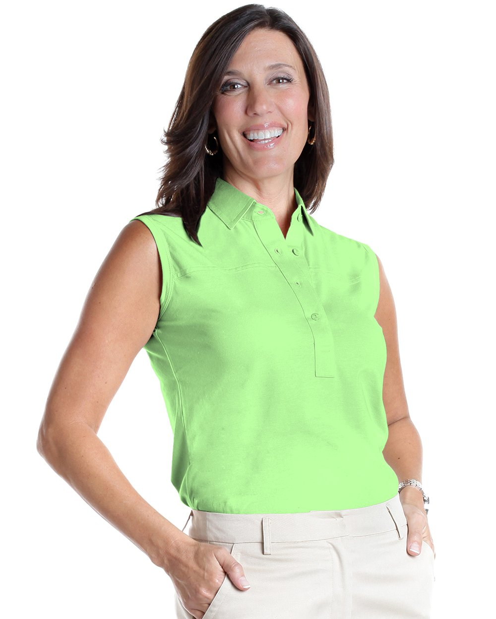 Sleeveless Solid Polo | Spearmint 751 - Leonlevin