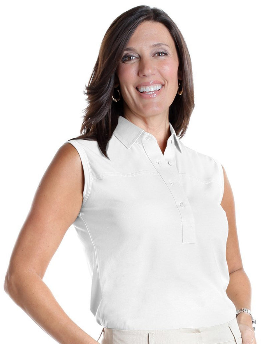Sleeveless Solid Polo</br>White 000 - Leonlevin
