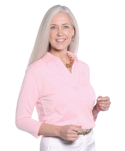 Three Quarter Sleeve Solid Polo Blush 30E - Leonlevin