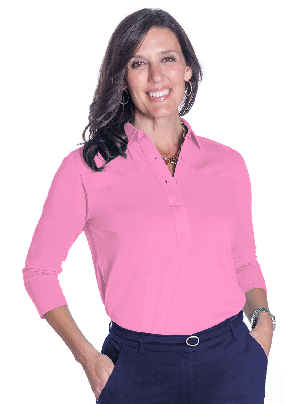 Three Quarter Sleeve Solid Polo Bermuda Pink 264 - Leonlevin