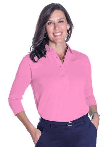 3/4 Sleeve Solid Polo Bermuda Pink 264
