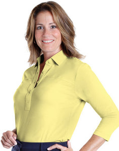 Three Quarter Sleeve Solid Polo Lemonade 509 - Leonlevin