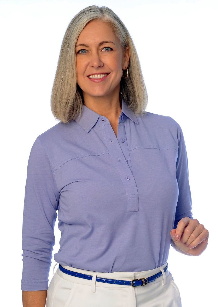 Three Quarter Sleeve Solid Polo Periwinkle 094 - Leonlevin