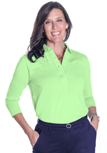 Three Quarter Sleeve Solid Polo Spearmint 751 - Leonlevin