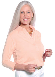Three Quarter Sleeve Solid Polo Sugared Peach 24P