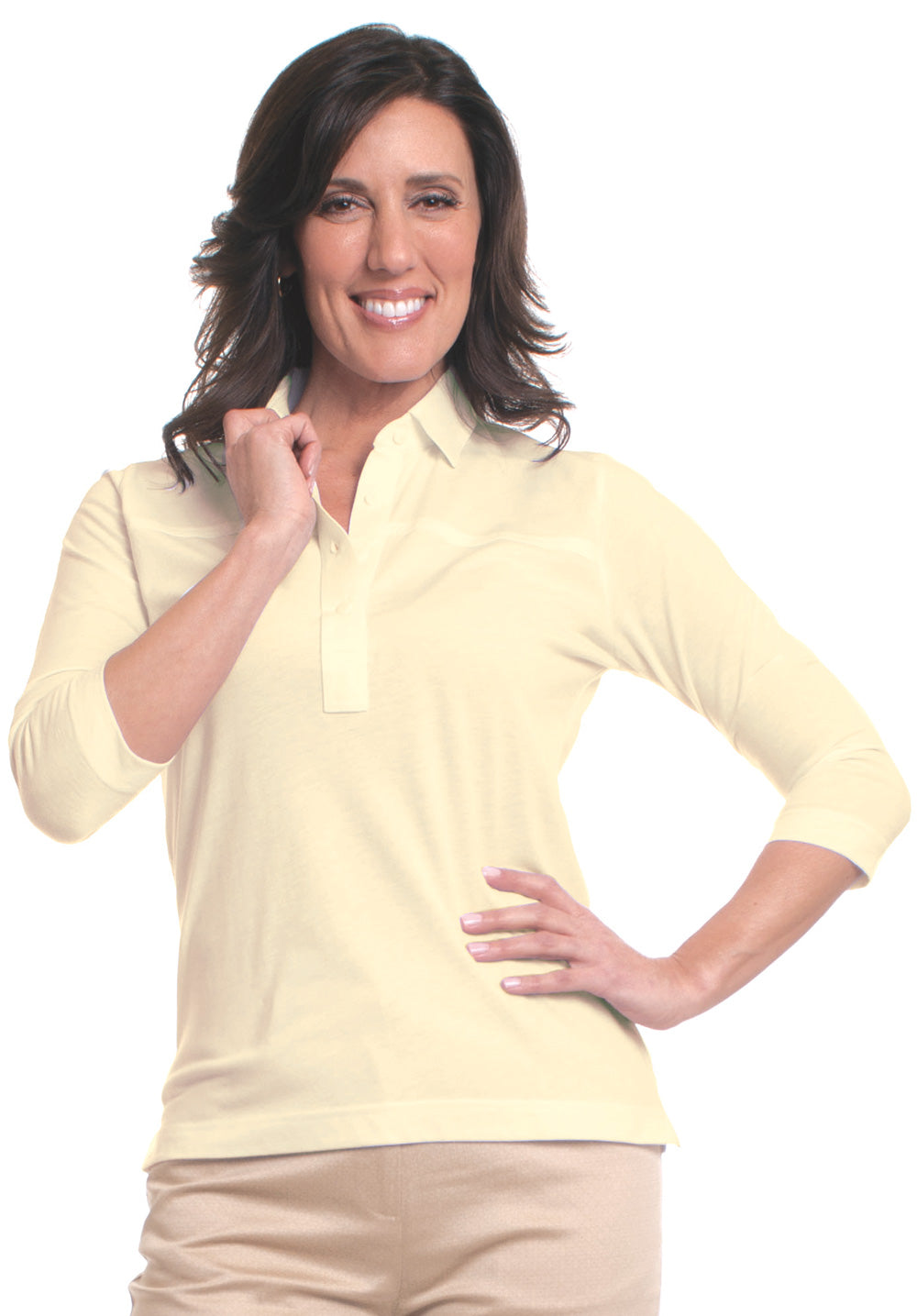 Three Quarter Sleeve Solid Polo Sundrop 23P - Leonlevin