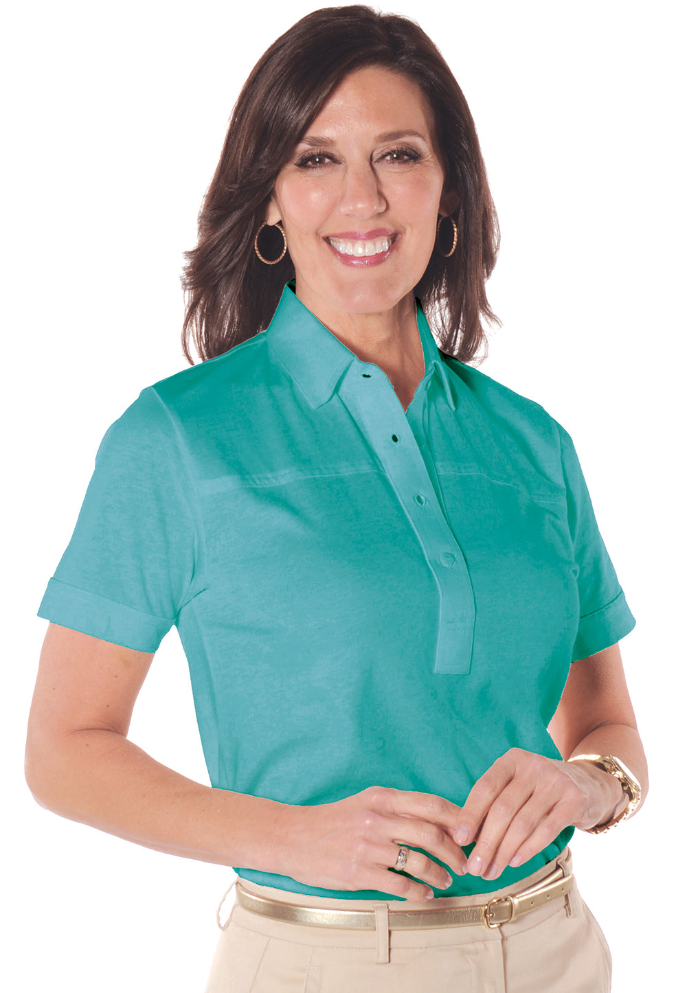 Petites Short Sleeve Solid Polo Shirt</br>Bright Teal 20E - Leonlevin