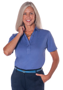 Short Sleeve Solid Polo</br>Baja Blue Q63 - Leonlevin