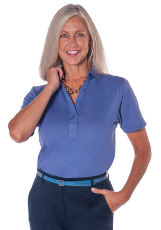 Petites Short Sleeve Solid Polo Shirt</br>Baja Blue Q63