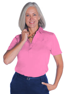 Short Sleeve Solid Polo</br>Bermuda Pink 264 - Leonlevin