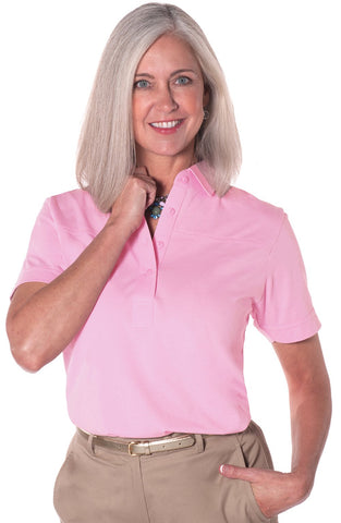 Petite Short Sleeve Solid Polo | Carnation 753 - Leonlevin