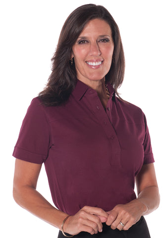 Petites Short Sleeve Solid Polo Shirt</br>Cranberry 35P
