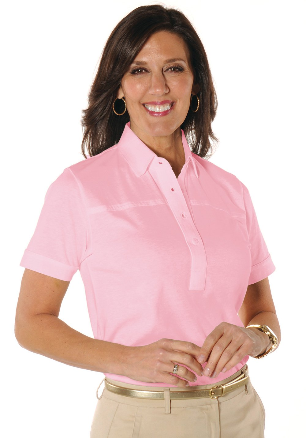 Petites Short Sleeve Solid Polo Shirt</br>Daiquiri 26P - Leonlevin