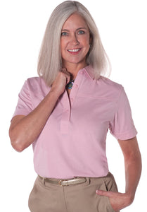 Petite Short Sleeve Solid Polo |  Dusty Rose 20K - Leonlevin