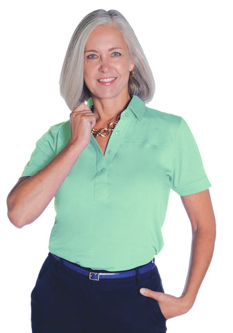 Petites Short Sleeve Solid Polo Shirt | Jade 20F