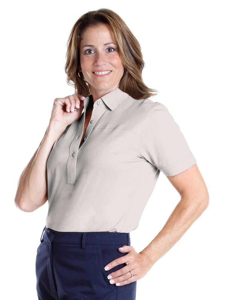 Petite Short Sleeve Solid Polo <br> Sand S50