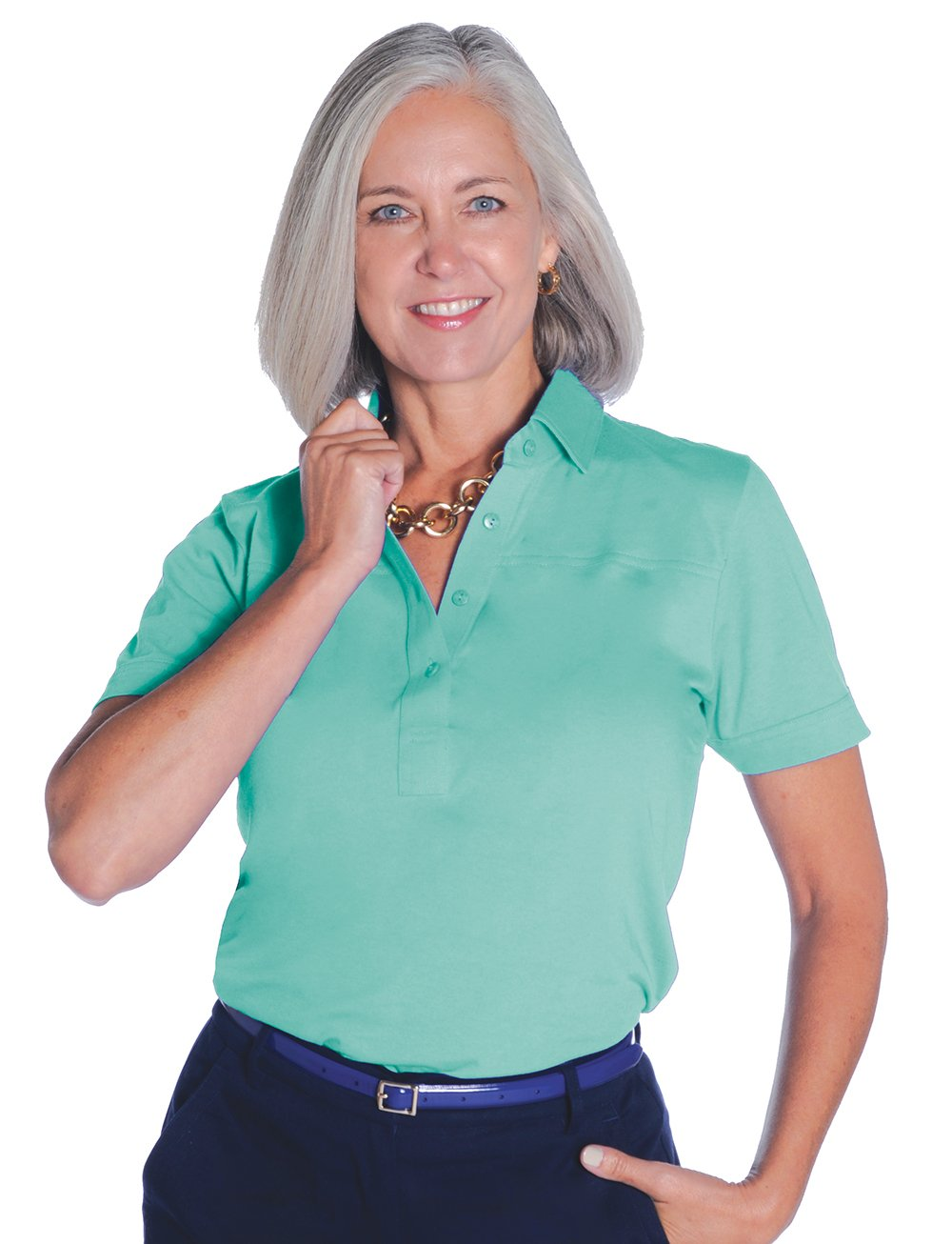 Short Sleeve Solid Polo</br>Sea Green T62 - Leonlevin