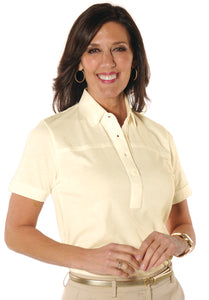 Petites Short Sleeve Solid Polo Shirt</br>Sundrop 23P