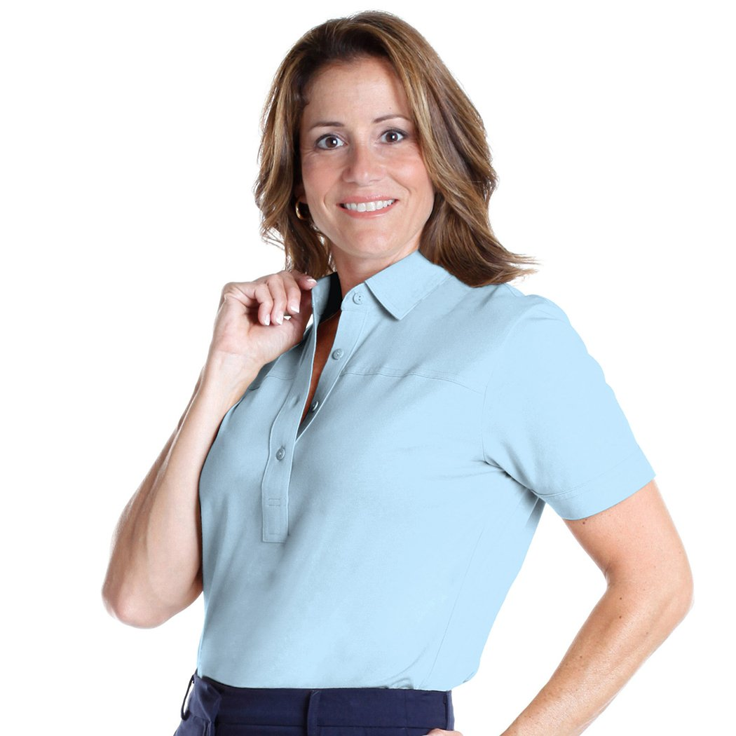 Petites Short Sleeve Solid Polo Shirt | Bluebell 755 - Leonlevin
