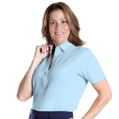 Petite Short Sleeve Solid Polo Shirt | Bluebell 755 - Leonlevin