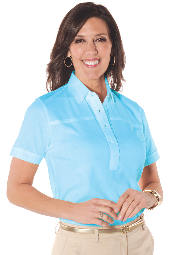 Petites Short Sleeve Solid Polo Shirt</br>Cancun 22P
