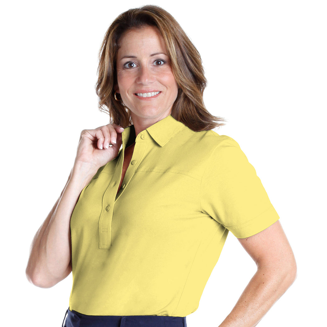Petite Short Sleeve Solid Polo | Lemonade 509 - Leonlevin