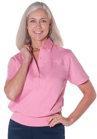Banded Bottom Solid Polo</br> Bermuda Pink 264 - Leonlevin