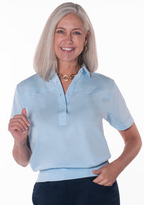 Banded Bottom Solid Polo</br>Bluebell 755 - Leonlevin