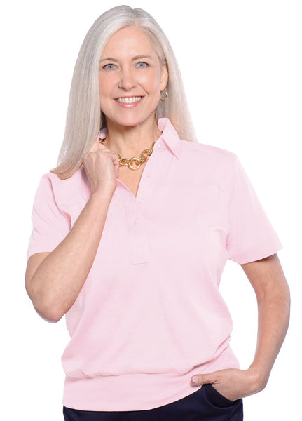 Banded Bottom Solid Polo | Blush 30E - Leonlevin