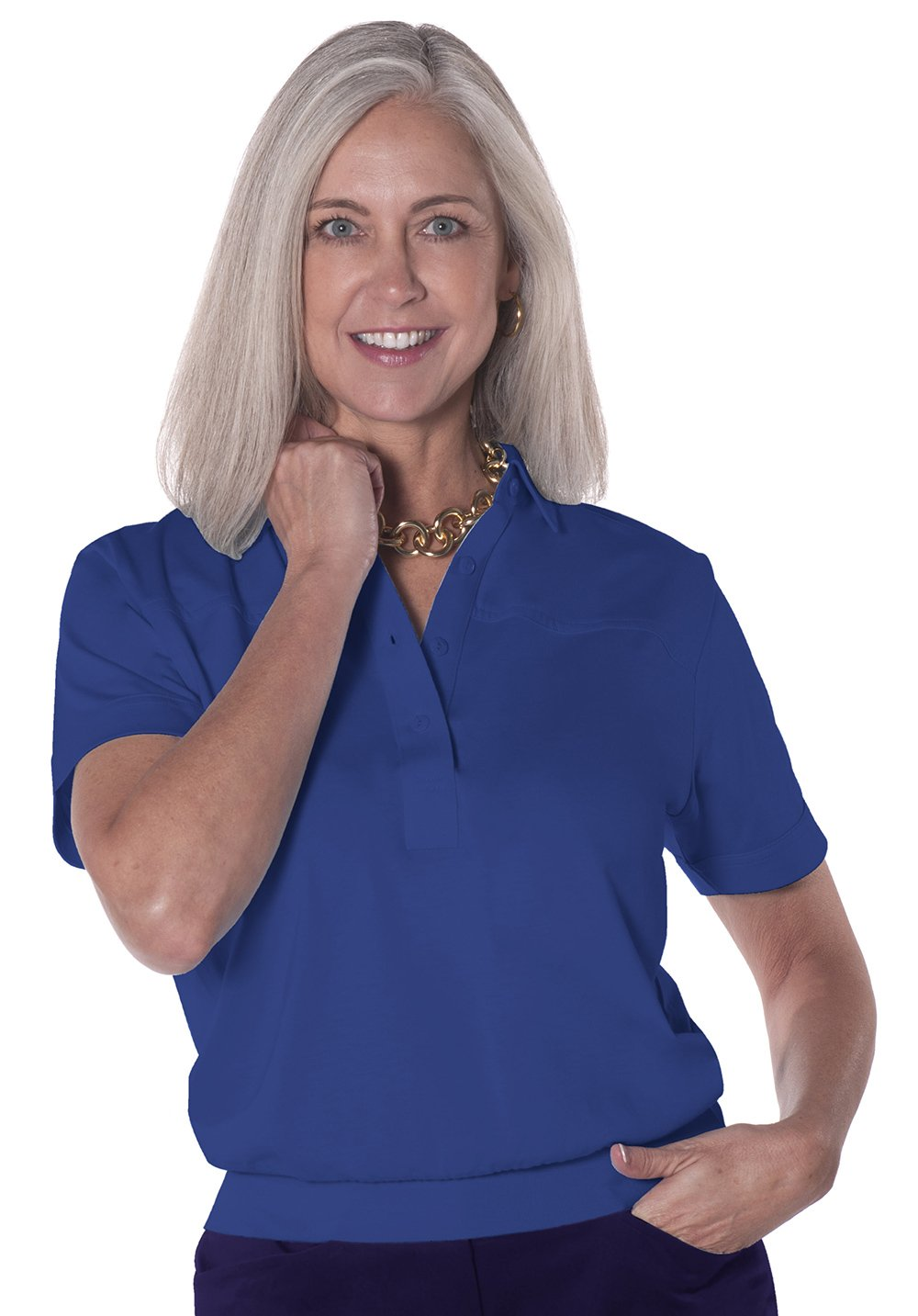Banded Bottom Solid Polo</br>Bright_Admiral_20C